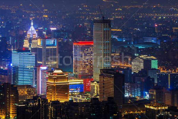 Nowoczesne Night City wieżowce Tajwan asia biuro Zdjęcia stock © elwynn