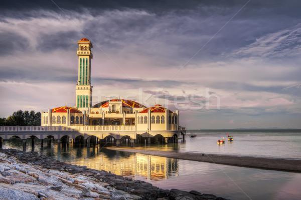 Tájkép lebeg mecset Malajzia Ázsia óceán Stock fotó © elwynn