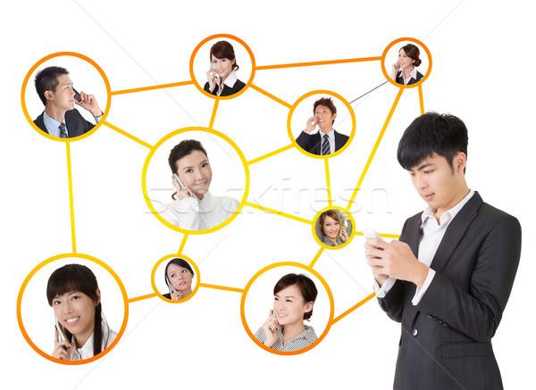 Zdjęcia stock: Business · network · asian · ludzi · biznesu · telefonu · komórkowego · przekazują · inny