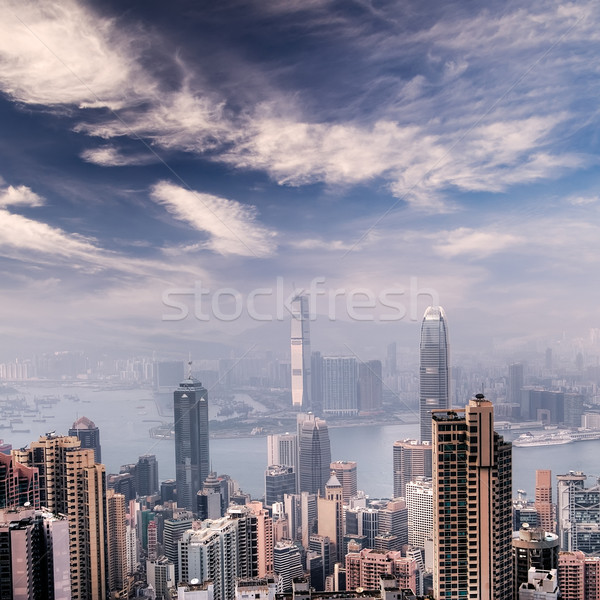 Cityscape Hong-Kong gratte-ciel Skyline affaires ciel Photo stock © elwynn