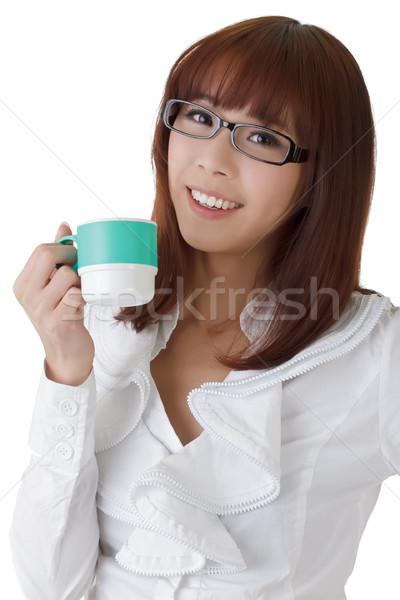 Сток-фото: расслабляющая · деловой · женщины · Кубок · кофе · портрет