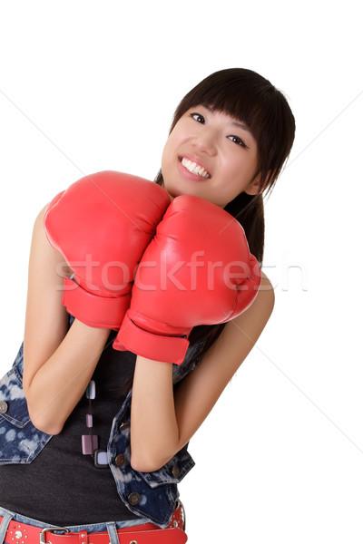 Genç kadın boks eldivenleri gülen bakıyor kız güzellik Stok fotoğraf © elwynn