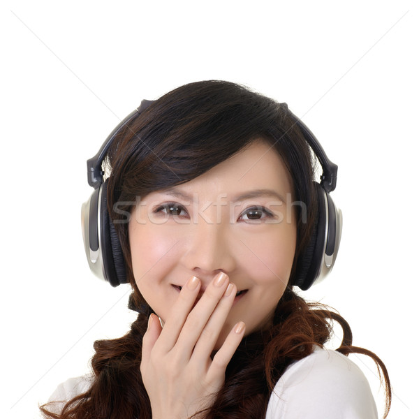 Сток-фото: улыбаясь · азиатских · женщина · улыбается · женщину · стороны · губ