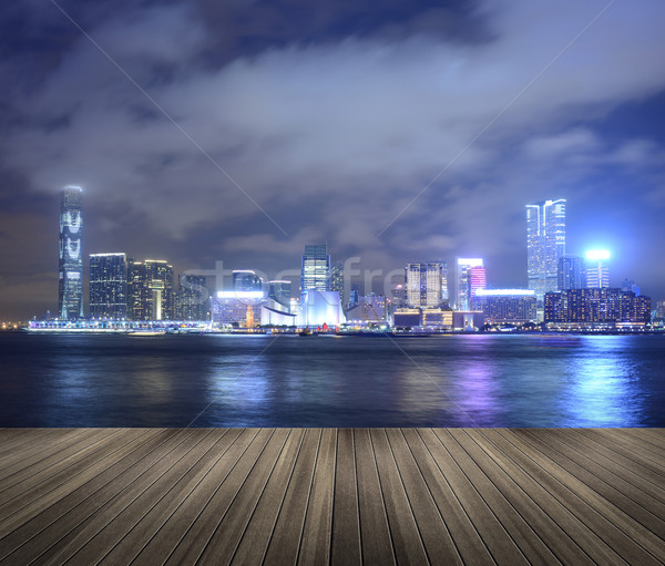 Victoria harbor in the night Stock photo © elwynn