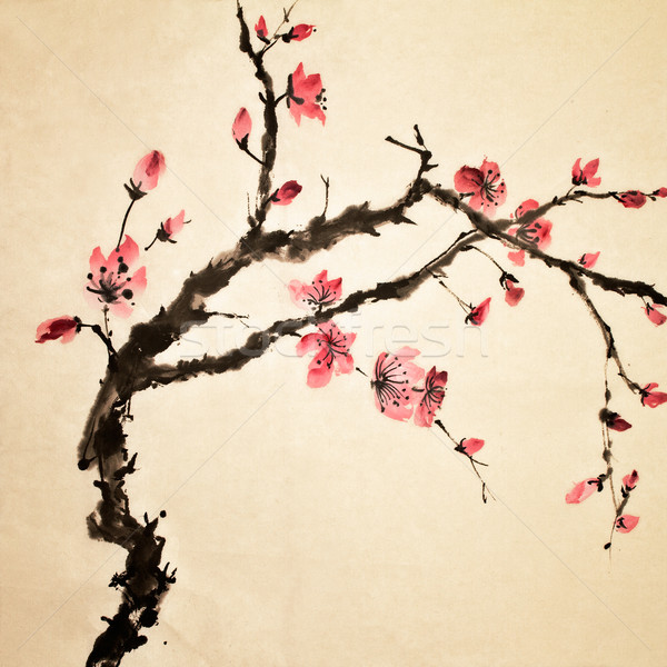Chinois fleur peinture traditionnel art couleur Photo stock © elwynn