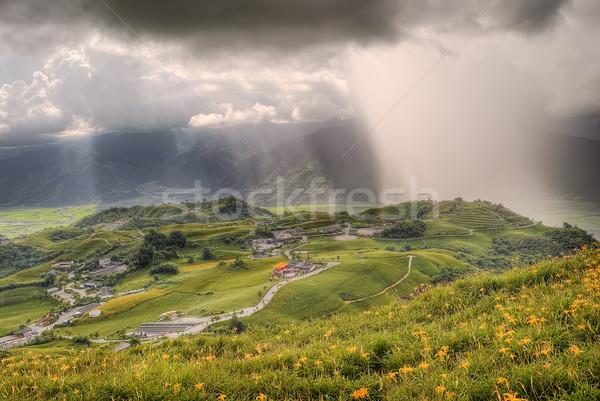 Dramatik manzara tepeler kötü hava bulutlu Stok fotoğraf © elwynn
