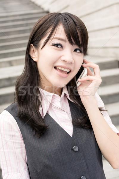 Femme d'affaires asian parler portrait Photo stock © elwynn
