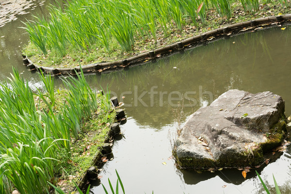 Сток-фото: зеленая · трава · садоводства · каменные · пруд · святыня · Киото
