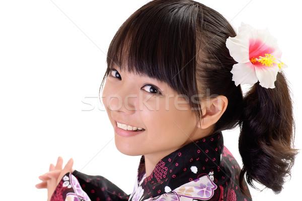 счастливым Японский девушки улыбающееся лицо портрет Сток-фото © elwynn