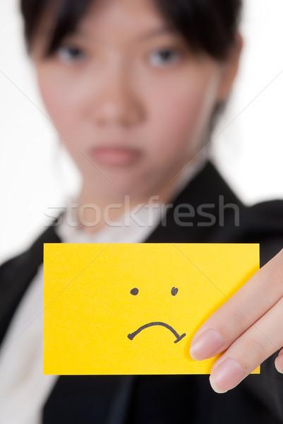 Boldogtalan szimbólum névjegy tart ázsiai üzletasszony Stock fotó © elwynn