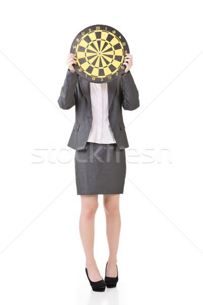 Asian business woman with a dartboard Stock photo © elwynn