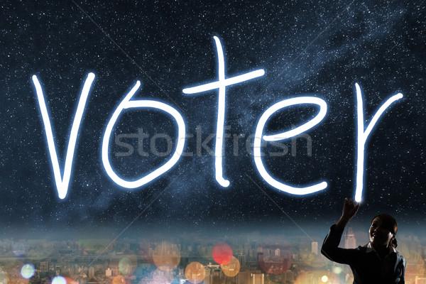 Foto stock: Votar · eleição · democracia · silhueta · asiático · mulher · de · negócios