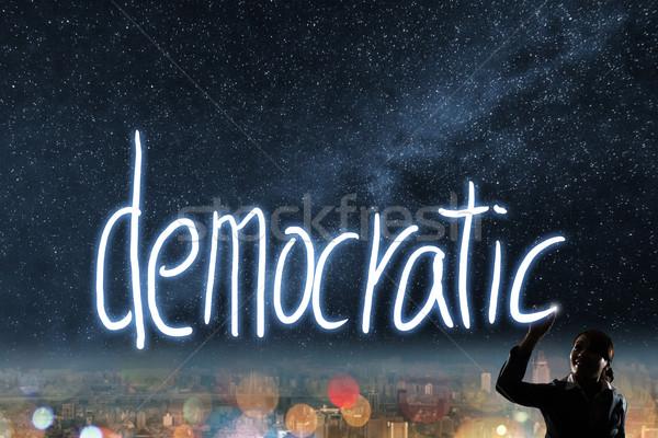 Szavazás választás demokrácia sziluett ázsiai üzletasszony Stock fotó © elwynn