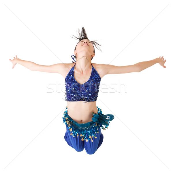 Attraente ragazza volare ritratto isolato bianco Foto d'archivio © elwynn