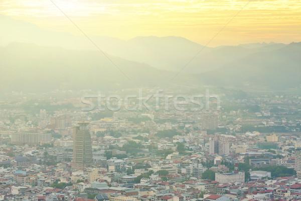 Dramatik gün batımı atış Tayvan Asya gökyüzü Stok fotoğraf © elwynn