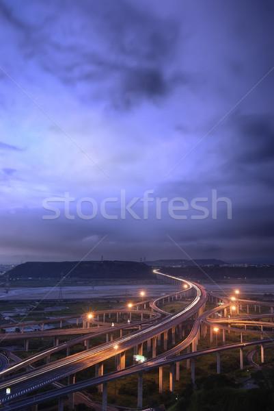 şehir taşımacılık manzara yüksek yol açık mavi Stok fotoğraf © elwynn