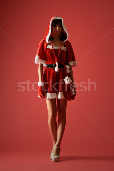 таинственный Рождества девушки темно красный студию Сток-фото © elwynn