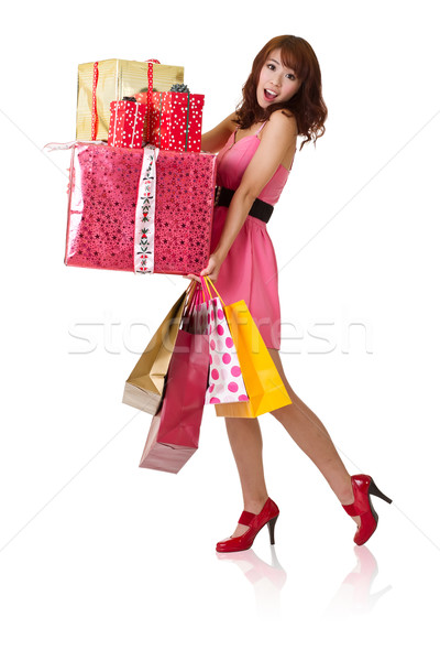 happy shopping girl Stock photo © elwynn
