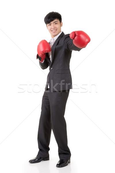 Boxing imprenditore asian guantoni da boxe ritratto Foto d'archivio © elwynn