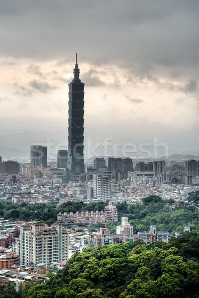 Kötü hava Cityscape karanlık bulutlar Bina inşaat Stok fotoğraf © elwynn