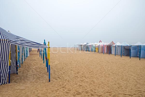 Kötü hava plaj sandalye sonbahar sis hava durumu Stok fotoğraf © elxeneize