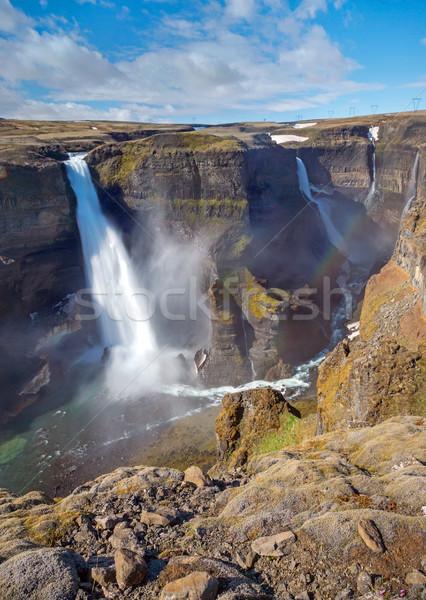 Islande deux cascades paysage beauté pouvoir Photo stock © elxeneize