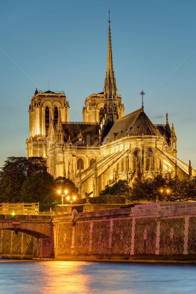 Notre Dame in Paris after sunset Stock photo © elxeneize
