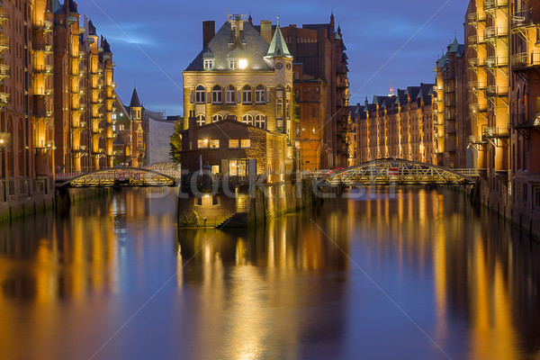 Hamburgs Speicherstadt at night Stock photo © elxeneize
