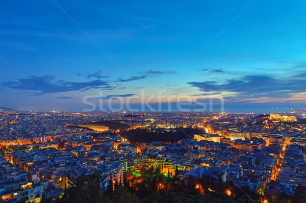 Atenas madrugada ver pôr do sol céu nuvens Foto stock © elxeneize
