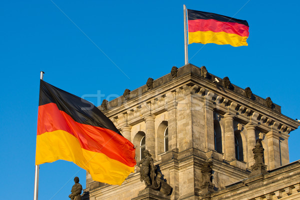 German flags at the Reichstag Stock photo © elxeneize
