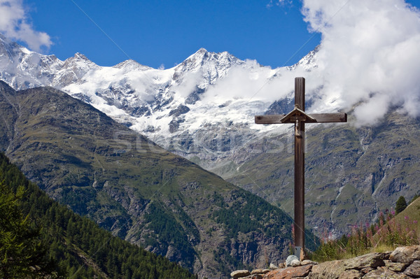 Cross in front of Weisshorn Stock photo © elxeneize
