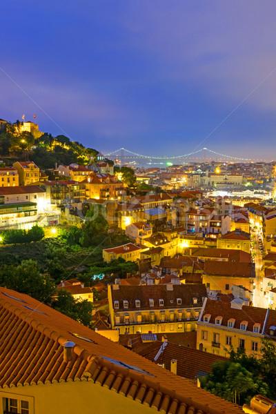 ライト リスボン ポルトガル 城 橋 市 ストックフォト © elxeneize