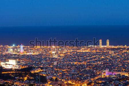 Barcelona şafak Bina şehir deniz ufuk çizgisi Stok fotoğraf © elxeneize