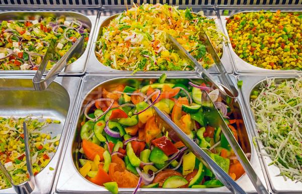 カラフル ビュッフェ レストラン 食品 プレート サンドイッチ ストックフォト © elxeneize