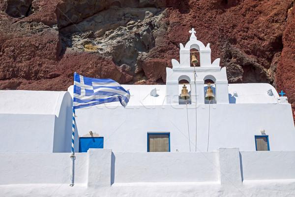 White church and red cliff Stock photo © elxeneize