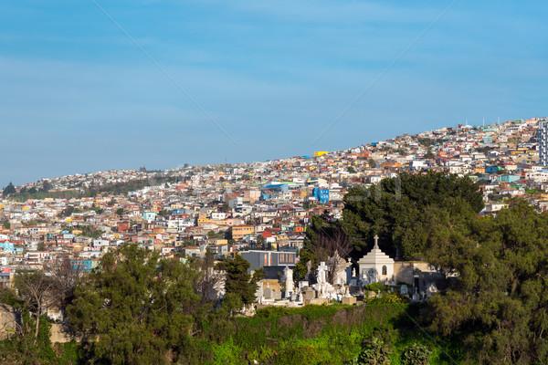 Kilátás színes házak város építkezés tájkép Stock fotó © elxeneize