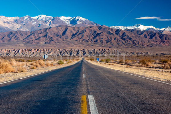 Stock fotó: Festői · út · északi · Argentína · kisváros · hó