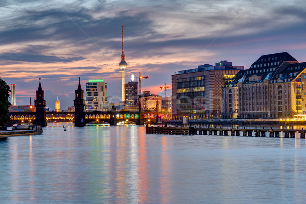 Evening at the river Spree in Berlin  Stock photo © elxeneize