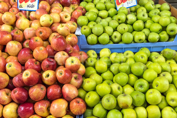 Fresh red and green apples for sale Stock photo © elxeneize