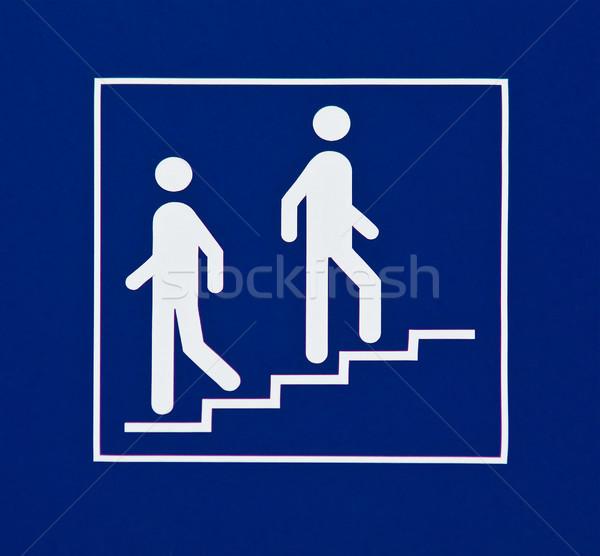 Információ jel mutat lépcsősor fehér kék fény Stock fotó © elxeneize