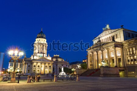 Berlin şafak gökyüzü kilise mavi Stok fotoğraf © elxeneize