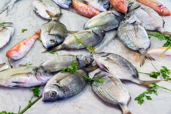 Fresh fish at a market in Palermo Stock photo © elxeneize