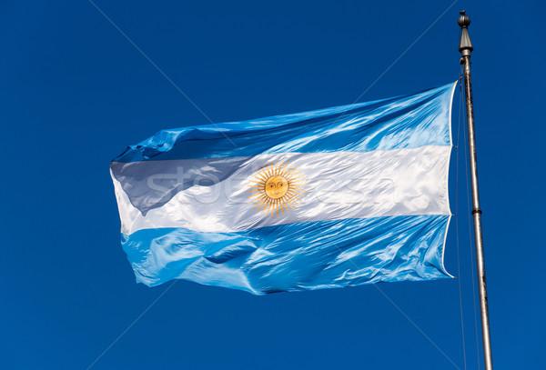 Argentín zászló kék ég utazás fehér vidék Stock fotó © elxeneize