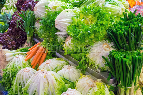 Cabbage and salad for sale Stock photo © elxeneize