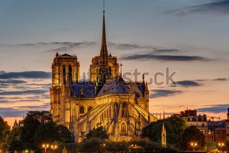 Backside of Notre Dame at dawn Stock photo © elxeneize