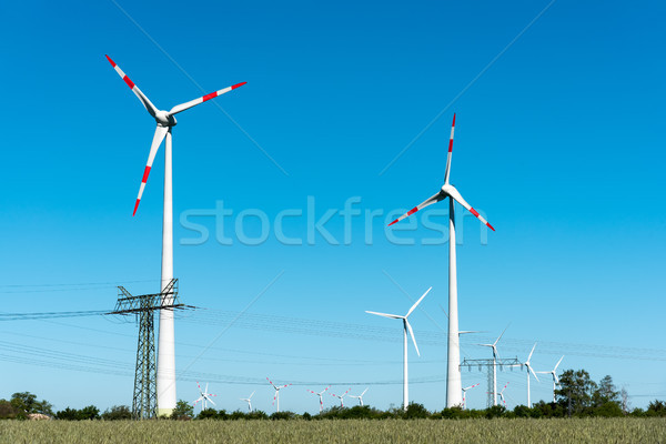 Windwheels and power transmission lines  Stock photo © elxeneize