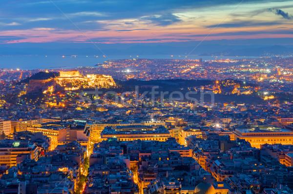 Ver Atenas noite Acrópole edifício paisagem Foto stock © elxeneize
