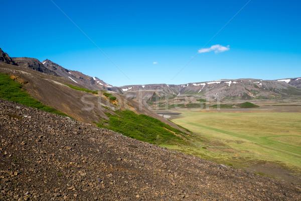 Tájkép Izland tipikus vulkáni napos idő hegy Stock fotó © elxeneize