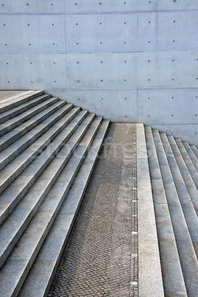 Beton lépcsősor fal szürke terméketlen épület Stock fotó © elxeneize