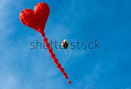 Сток-фото: сердце · кайт · красный · Blue · Sky · небе